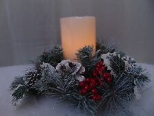 """Gerson LED Candle Red Berry Snowy Pinecone Ring 12"""" Christmas Centerpiece #C197"""