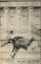 Political Satire Propaganda 23 Juin Le Conge - Caricature c1910 Postcard