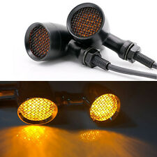Motorcycle Mesh Grille Bullet Cover Amber LENS LED 3 Wires Turn Signals Lights