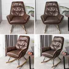 Leather Rocking Chair Elder Relaxing Napping Armchair Sun Lounger Wood Curve Leg