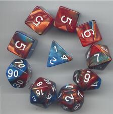 NEW RPG Dice 10pc - Twisted Aqua-Bronze- 1 @ D4 D8 D10 D12 D20 D00-10 & 4 D6