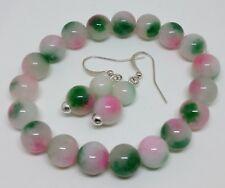Genuine Multicoloured Quartz Silver Plated Bracelet & Earrings set - Handmade