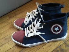 Marvel Captain America High Top Faux Leather Sneakers Adult Size 12 Brand New