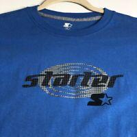 Starter S Men's Long Sleeve T Shirt Extra Large XL Blue Logo Spellout Crewneck