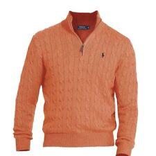 Polo Ralph Lauren 7251 Mens Orange Cable Knit Mock Turtleneck Sweater XXL NWT