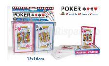 Carte Gioco Poker Francesi 2 Mazzi Da 52 Carte E 2 Matte moc