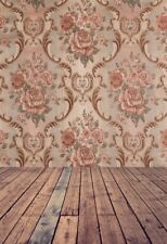 5x7 Vinyl Baby Backdrops Retro Floral Damask Wall Wooden Floor Photo Background