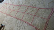 """Antique CROCHETED DOILY, PINK BORDER, 54""""X14-1/2"""""""