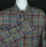 Gitman Bros Shirt Mens XL Long Sleeve Button Front Plaid Multi-Color Made In USA