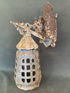 Antique Arts & Crafts Iron Porch Light - Vintage Craftsman Tudor Entry Sconce
