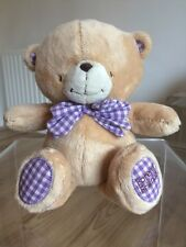 """FOREVER Friends PELUCHE VINTAGE ORSO TEDDY Soft 11.5"""" Viola Bianco Percalle Fiocco"""