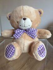"FOREVER FRIENDS Vintage Plush Bear 11.5"" Purple White Gingham Bow Gift Free Post"