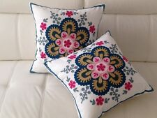 2X Pink Floral Crewel Country Vintage Ethnic Cotton Pillow Cushion Covers 18""