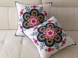 2 X Pink Floral Crewel Country Vintage Ethnic Cotton Pillow Cushion Covers 18""