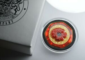 Remembrance/Armistice Commemorative. Gift Box. Embroidered Poppy, Enamel. Gold