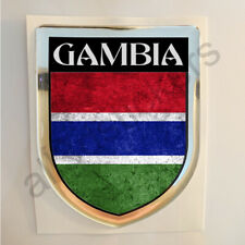 Gambia Sticker Resin Domed Stickers Flag Grunge 3D Adhesive Decal Gel Car Moto