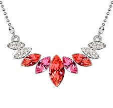 18K WHITE GOLD GP Made With SWAROVSKI CRYSTAL Layer Leaf Red NECKLACE