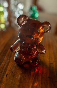Boyd Glass Fuzzy the Bear, Deep Pinkish-Orange Color, 3 inches