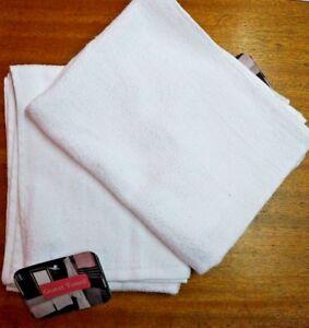 GUEST HAND TOWELS PLAIN WHITE X 12 320 GSM LIGHT WEIGHT GYM HAIRDRESSER B&B