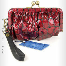 SIMPLY VERA WANG Faux Crocodile RED WRISTLET Faux CRYSTAL KISS LOCK Clutch PURSE