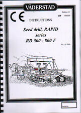 VADERSTAD Rapid series RD 500-800 F Seed Drill Instruction Book Manual
