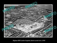 OLD LARGE HISTORIC PHOTO HIGHAM HILL LONDON ENGLAND DISTRICT AERIAL VIEW c1950