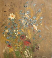 Antique expressionist floral oil painting flowers signed