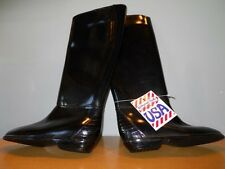 Nos Vintage 1960s 70s Black Boots Tall Waterproof Storm Rubbers Rain Galoshes 6