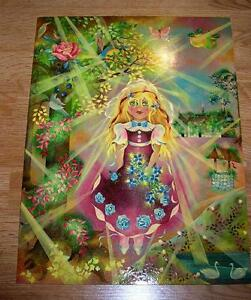 VINTAGE GARDEN CHILD GIRL BOTANICAL FLOWER FRUIT SWAN COTTAGE BOTANICAL PAINTING