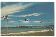 French, British American FLAGS FORT MICHILIMACKINAC Mackinaw City MI POSTCARD