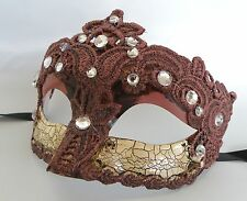 Venetian Face Masquerade Mask - Crackled Burgundy Express Post Option Available