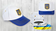 Ukrainian Ukraine White-Blue Cap Tryzub Coat of Arms Flag Hat