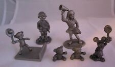 Set of 6 Mini Pewter Figures, Bears, Tennis Players, Rawcliffe Cheerleader Vtg.