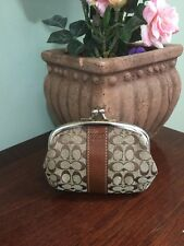 Coach Signature Kiss-lock Framed Coin Purse Wallet Brown Jacquard Leather W8