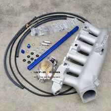Intake Manifold+Fuel Rail blue +80mmThrottle Body For Nissan R32 R33 R34 RB25DET