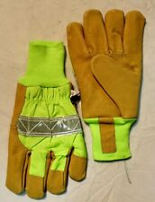 NWOT SAFETY GREEN REFLECTIVE LEATHER PALM WORK GLOVES XL