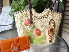 Adorable BRIGHTON Straw TANGA Monkey Handbag with Matching Orange Wallet!!