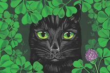 LE #2 4X6 POSTCARD RYTA VINTAGE STYLE ART GREEN EYED LADY CAT BLACK GARDEN SPRIN