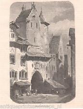 Antique print street St. Gallen Switzerland / holzstich Sankt Schweiz 1879