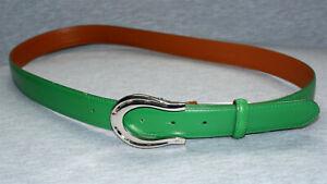 Ralph Lauren Green Leather Belt, NWT,  Women's Large Horseshoe Silver Buckle