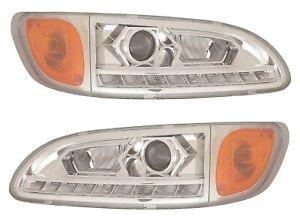 PETERBILT TRUCK 325 335 337 340 2000-2015 PROJECTOR LED HEAD LIGHTS LAMPS PAIR