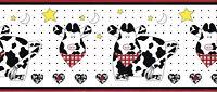 Country Cows Barnyard Farm Animal Star Moon Heart Red Black Wallpaper Border
