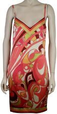 SEXY PUCCI SILK SATIN COCKTAIL SLIP DRESS HOT PINK YELLOW IVORY GREEN, SIZE 42/8