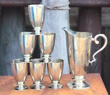 White Metal Jug & 6 Glass Old Vintage Antique Rare Home Decor Collectible