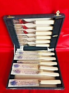 Antique Sheffield EPNS (A1) Set of Fish Cutlery (Boxed) (MC)