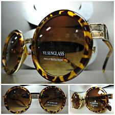 Mens Women CLASSIC VINTAGE Style SUN GLASSES Round Tortoise & Gold Fashion Frame