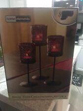 Mosaic Glass Candleholders Set Of 3 Brand New
