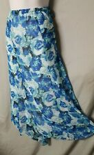"Laura Scott Skirt Blue Green White Floral Lined Size 2X  42-46"" Waist Retail $44"
