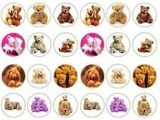 24 Carino TEDDY BEARS teddys ORSETTI Fairy TAZZA DECORAZIONI PER TORTA FESTA commestibili carta