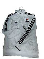 Adidas Unisex Adult MEDIUM Wisconsin Logo Jacket White Pull over Windbraker(#h1